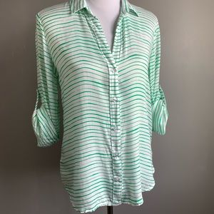 Bella Dahl Green & White Stripe Tab Sleeve Blouse